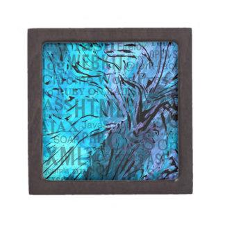 hecho de palabras, azul del ordenador cajas de recuerdo de calidad