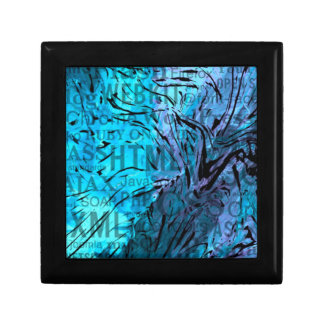 hecho de palabras, azul del ordenador caja de regalo