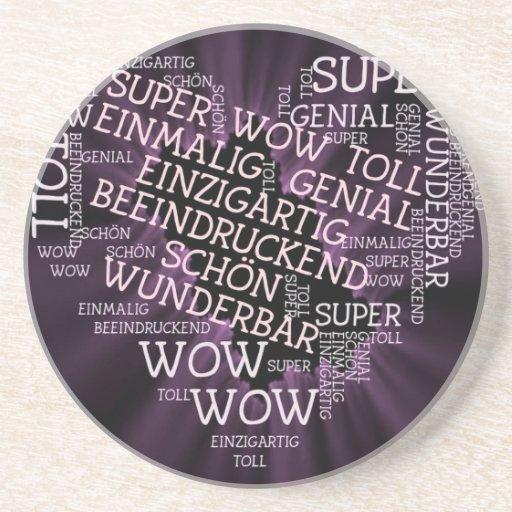 hecho de palabras, texto alemán posavasos diseño