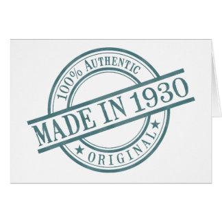 Hecho en 1930 tarjeta de felicitación