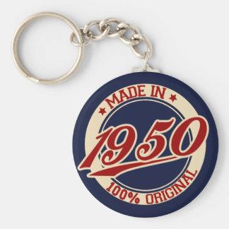 Hecho en 1950 llavero redondo tipo pin