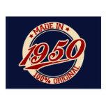 Hecho en 1950 postal
