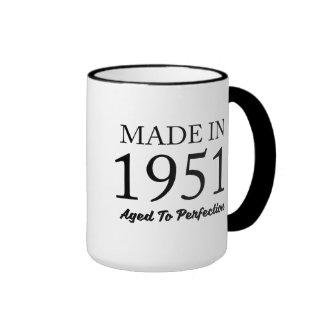 Hecho en 1951 taza de dos colores