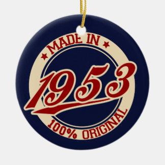 Hecho en 1953 adorno navideño redondo de cerámica