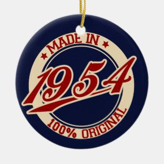 Hecho en 1954 adorno navideño redondo de cerámica