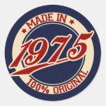 Hecho en 1975 pegatina redonda