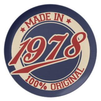 Hecho en 1978 platos para fiestas