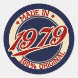 Hecho en 1979 pegatina redonda