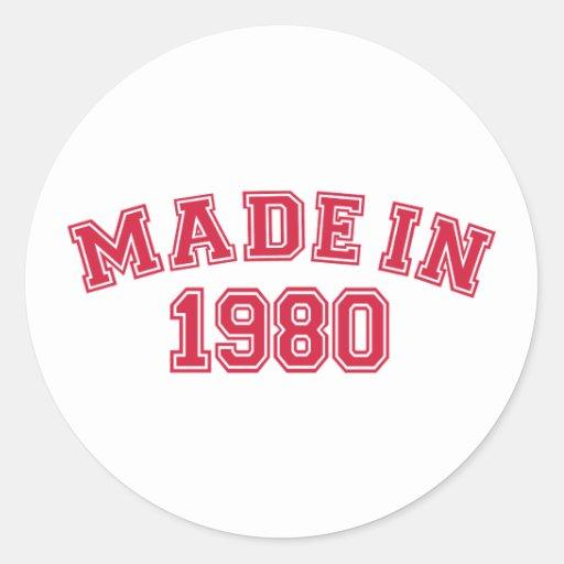 Hecho en 1980 pegatina redonda