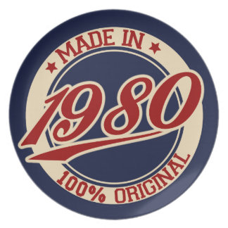 Hecho en 1980 platos de comidas