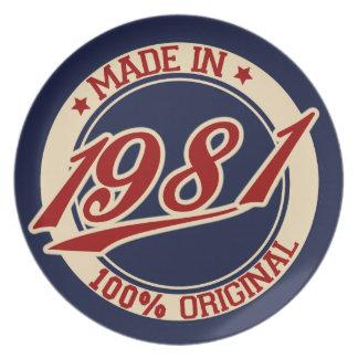 Hecho en 1981 plato para fiesta