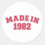 Hecho en 1982 etiqueta redonda
