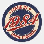 Hecho en 1984 etiquetas redondas