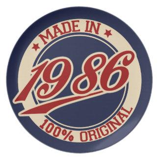 Hecho en 1986 platos de comidas