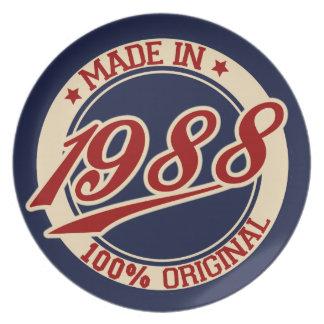 Hecho en 1988 platos de comidas