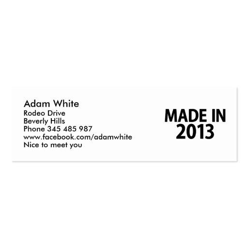 Hecho en 2013 tarjeta personal