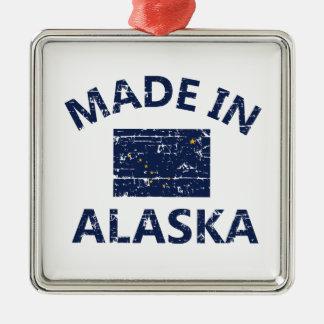 Hecho en Alaska Adorno Navideño Cuadrado De Metal