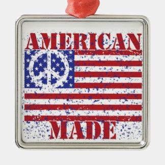 Hecho en América Adorno Navideño Cuadrado De Metal