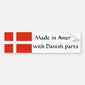 ¡Hecho en América con las piezas danesas! Pegatina De Parachoque