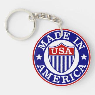 Hecho en América los E.E.U.U. Llavero Redondo Acrílico A Una Cara