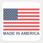 Hecho en América Calcomanía Cuadradas Personalizadas