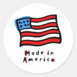 Hecho en americano etiqueta redonda