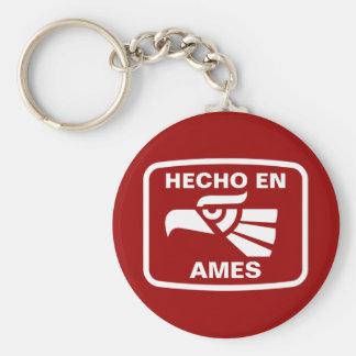 Hecho en Ames personalizado custom personalized Keychain