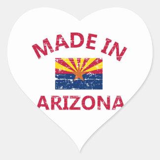 Hecho en Arizona Pegatina En Forma De Corazón