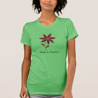 Hecho en camiseta de la flor del tartán de Escocia Polera