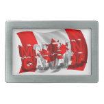 Hecho en Canadá (fondo de la bandera) Hebilla De Cinturon