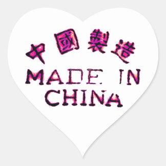 Hecho en China Pegatina En Forma De Corazón