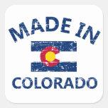 Hecho en Colorado Calcomanías Cuadradass Personalizadas