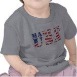 Hecho en colores patrióticos azules blancos rojos  camisetas