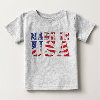 Hecho en colores patrióticos azules blancos rojos playera de bebé