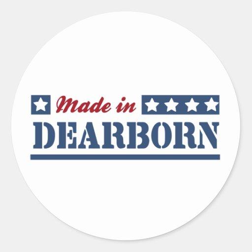 Hecho en Dearborn Pegatina Redonda