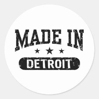 Hecho en Detroit Pegatina Redonda