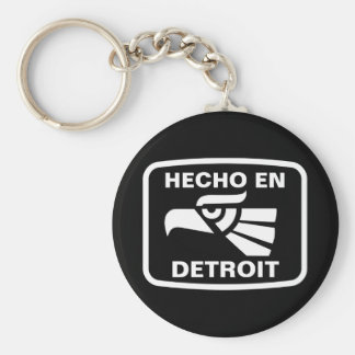 Hecho en Detroit personalizado custom personalized Basic Round Button Keychain