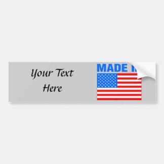 Hecho en diseño de la bandera de América Pegatina De Parachoque