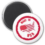 Hecho en diseño del sello de goma de los E.E.U.U. Imanes De Nevera