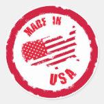Hecho en diseño del sello de goma de los E.E.U.U. Pegatina Redonda