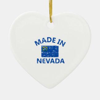 Hecho en diseños de la bandera de NEVADA Estados Adorno Navideño De Cerámica En Forma De Corazón