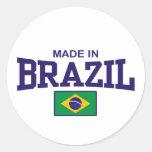 Hecho en el Brasil Etiqueta Redonda