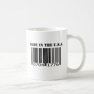Hecho en el código de barras de los E.E.U.U. Taza Básica Blanca