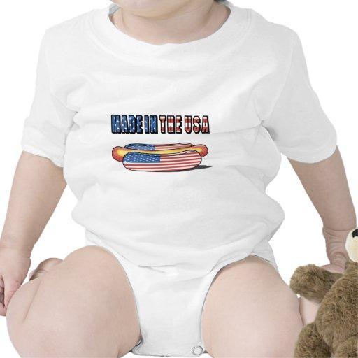 Hecho en el perrito caliente patriótico de los E.E Traje De Bebé