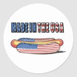 Hecho en el perrito caliente patriótico de los pegatinas redondas