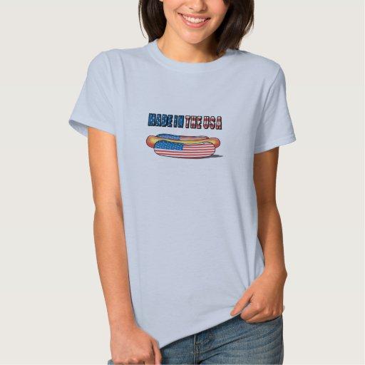 Hecho en el perrito caliente patriótico de los t shirts