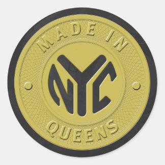 Hecho en el Queens de Nueva York Pegatina Redonda
