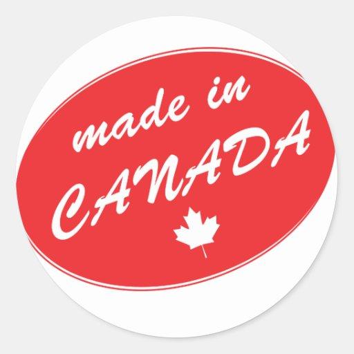 Hecho en el rojo de Canadá Pegatina Redonda