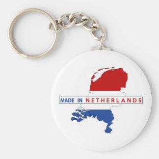 hecho en etiqueta holandesa de la bandera de la llavero redondo tipo pin