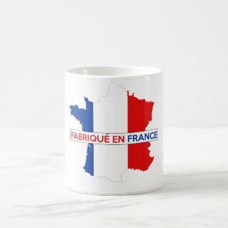 hecho en fabrique de la etiqueta de la bandera del taza